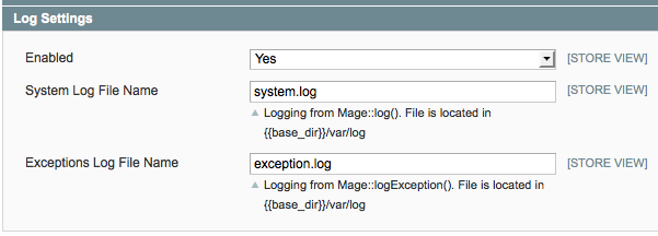 Enabling Magento logging
